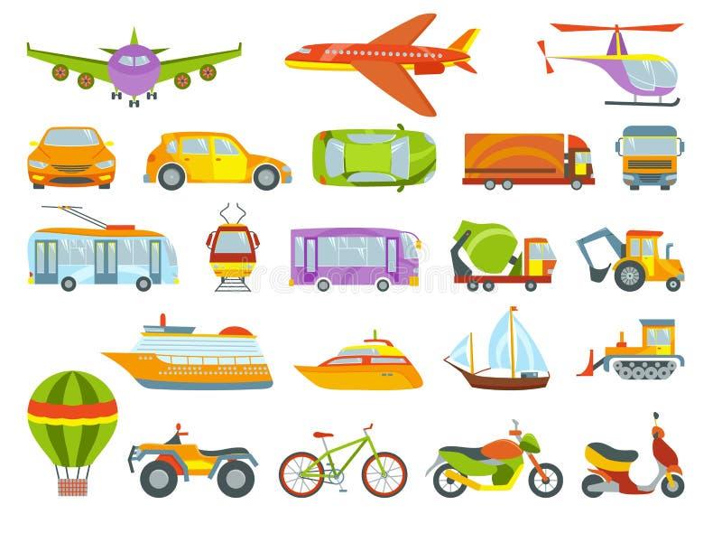 Kulör vektorillustration för stads- transport Stadstrans. och biltransport som isoleras på vit bakgrund stock illustrationer