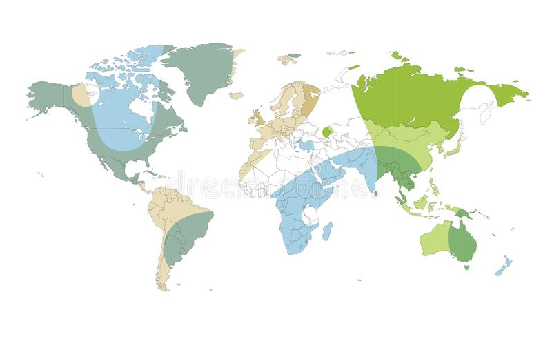 Kulör vektorvärldskartaillustration som isoleras över vit backgr stock illustrationer