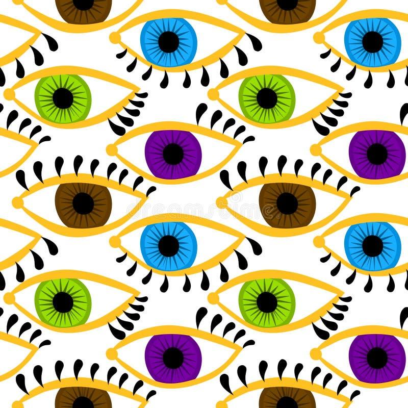 Kulöra ögon med sömlös bakgrund för ögonfrans vektor illustrationer