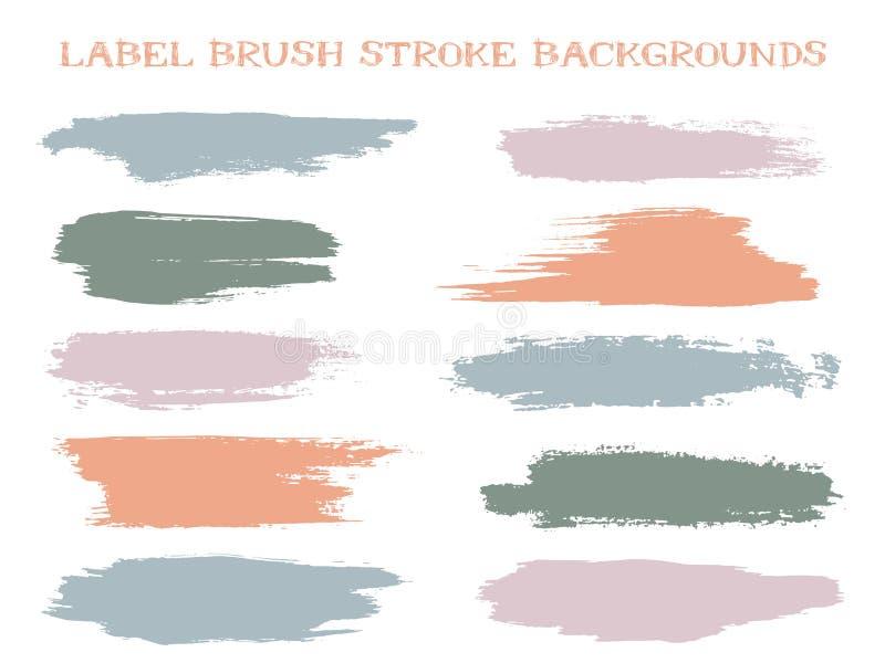 Kulöra bakgrunder för etikettborsteslaglängd stock illustrationer