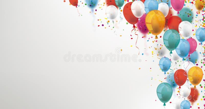 Kulöra ballonger och konfettititelrad stock illustrationer
