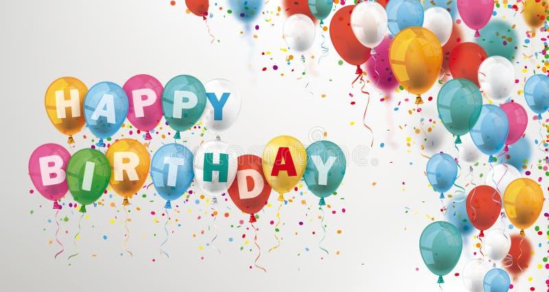Kulöra ballonger och konfettititelradfödelsedag royaltyfri illustrationer