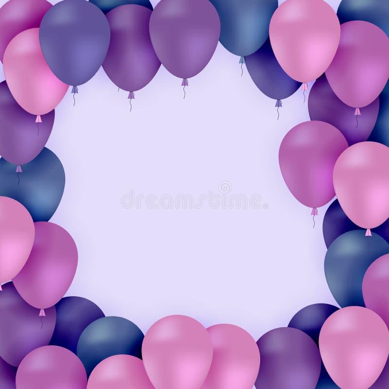 Kulöra ballonger på purpurfärgad bakgrundsvektor royaltyfri illustrationer