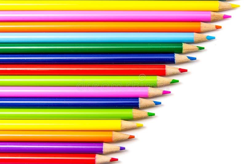 kulöra blyertspennarader royaltyfri bild