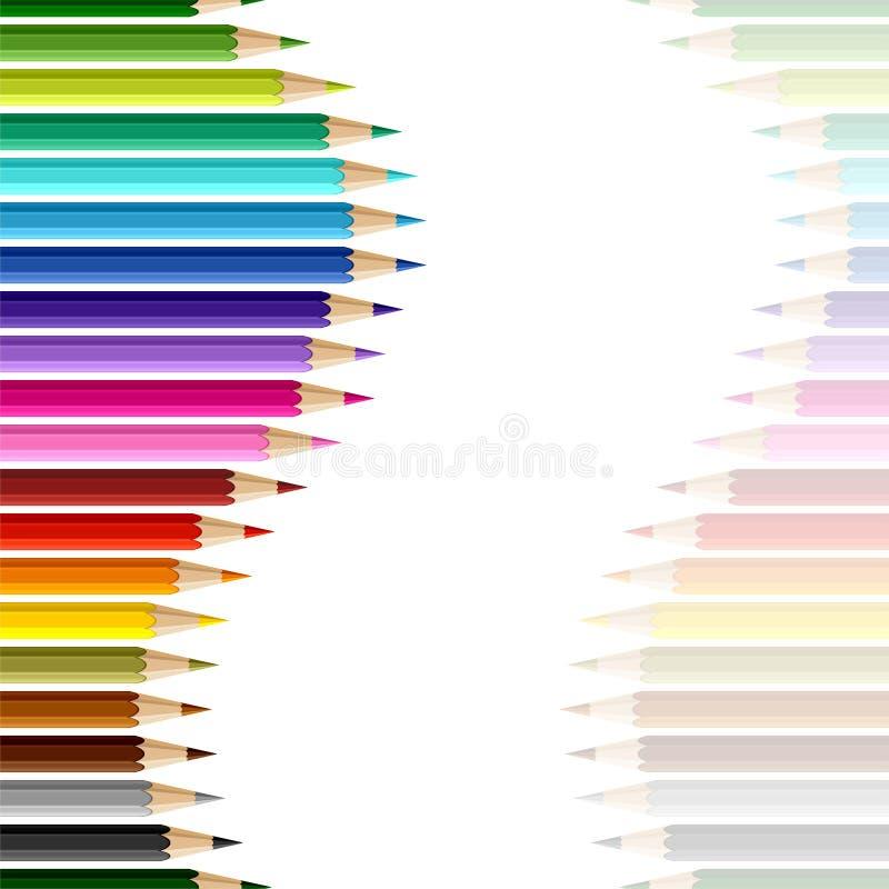 kulöra blyertspennor för bakgrund seamless vektor royaltyfri illustrationer