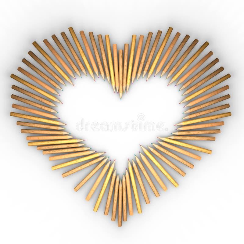Kulöra blyertspennor i en hjärtaform stock illustrationer