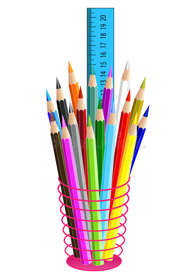 Kulöra blyertspennor i ett blyertspennafall som isoleras på vit vektor stock illustrationer
