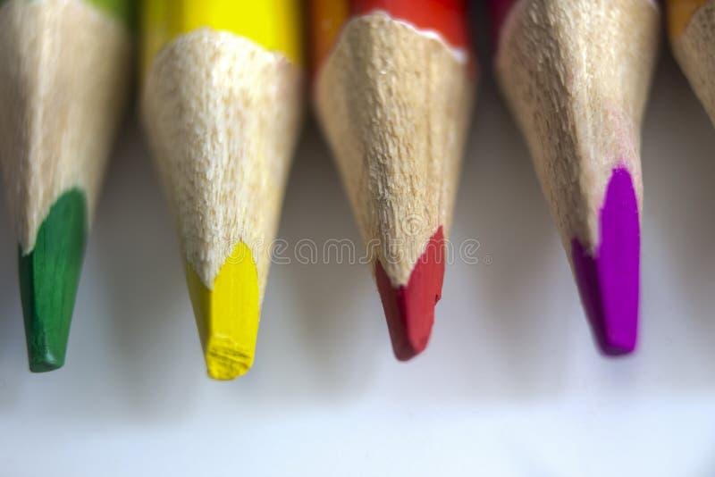 Kulöra blyertspennor i färgerna av regnbågen på vit bakgrund arkivfoton