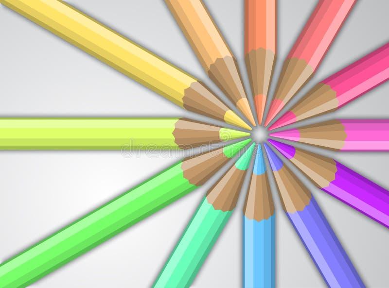 Kulöra blyertspennor på en grå bakgrund vektor illustrationer