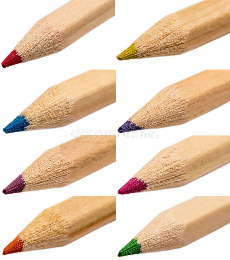 kulöra crayonsspetsar fotografering för bildbyråer