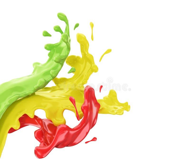 Kulöra färgstänk av målarfärg i abstrakt form, fotografering för bildbyråer