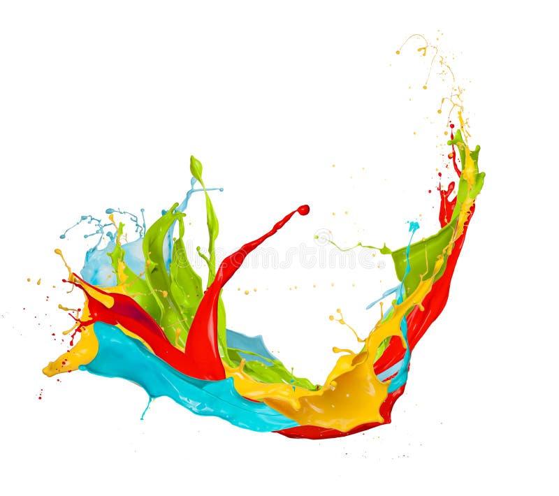 Kulöra färgstänk på vit bakgrund stock illustrationer