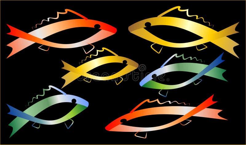 Kulöra fiskar stock illustrationer