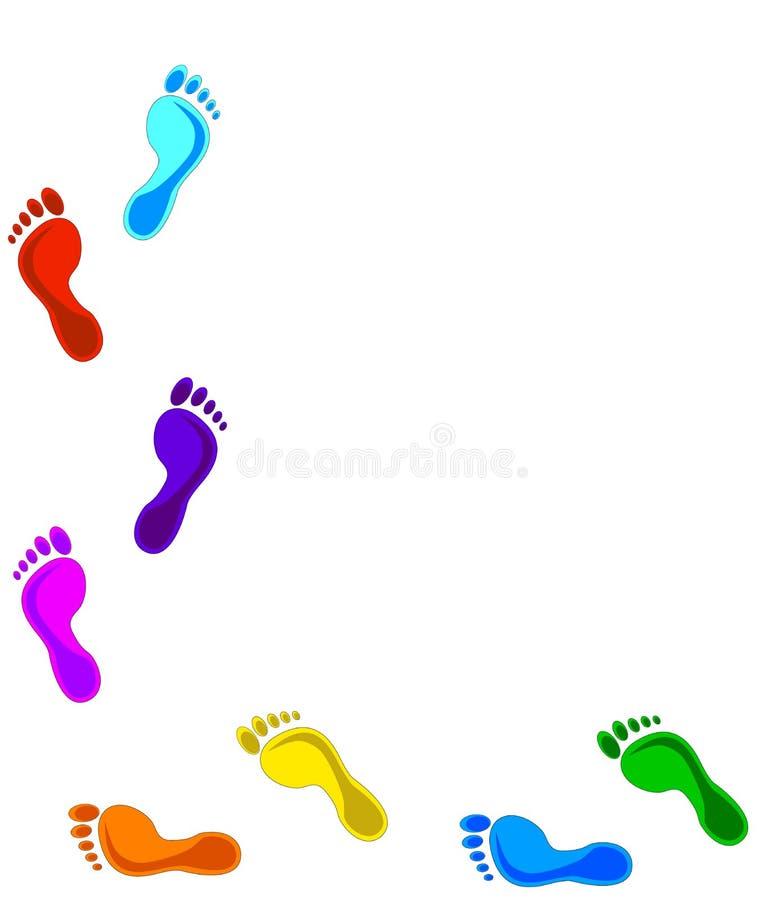 kulöra fotspår royaltyfri illustrationer