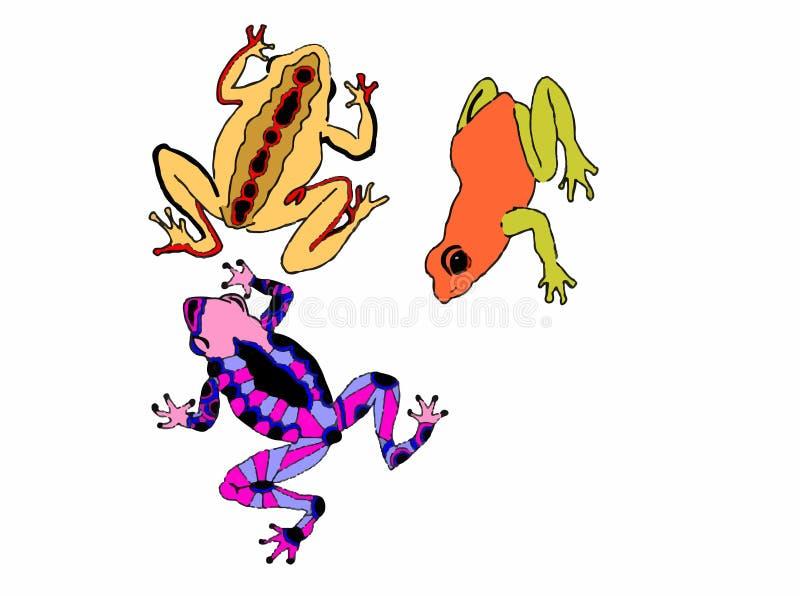 Kulöra grodor på en vit bakgrund stock illustrationer
