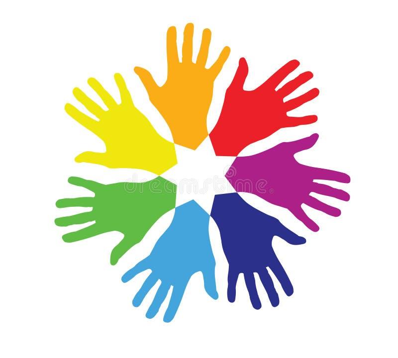 Kulöra händer i en cirkel royaltyfri illustrationer