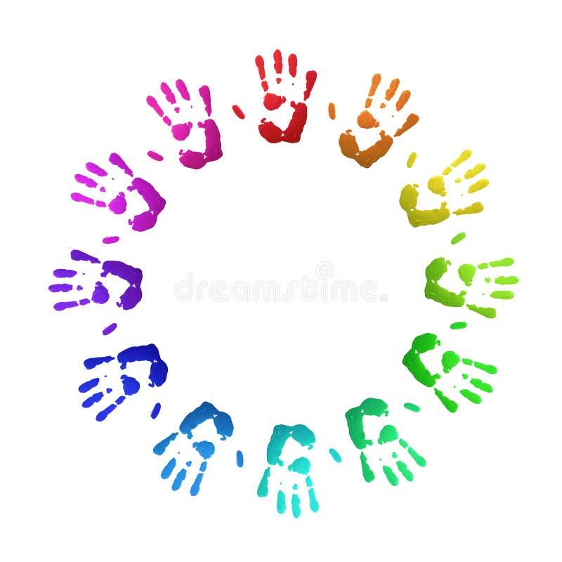 kulöra handprints vektor illustrationer