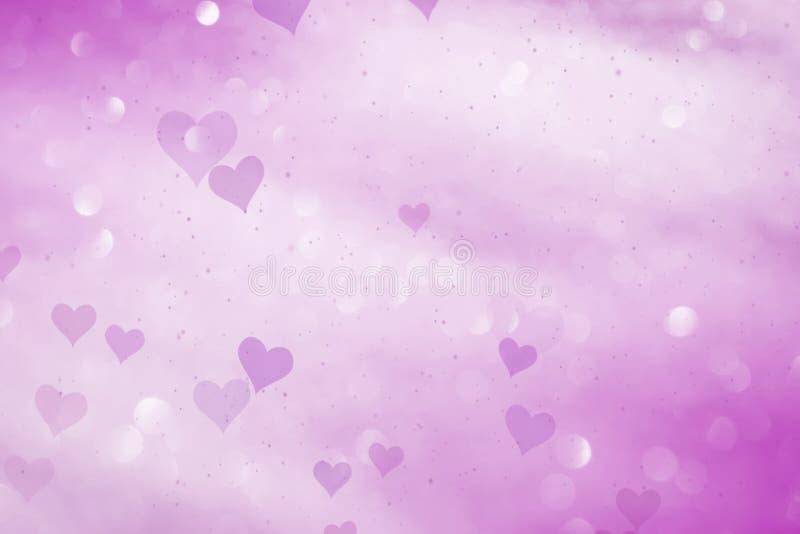 Kulöra hjärtor för rosa färger på bokehbakgrund royaltyfri illustrationer