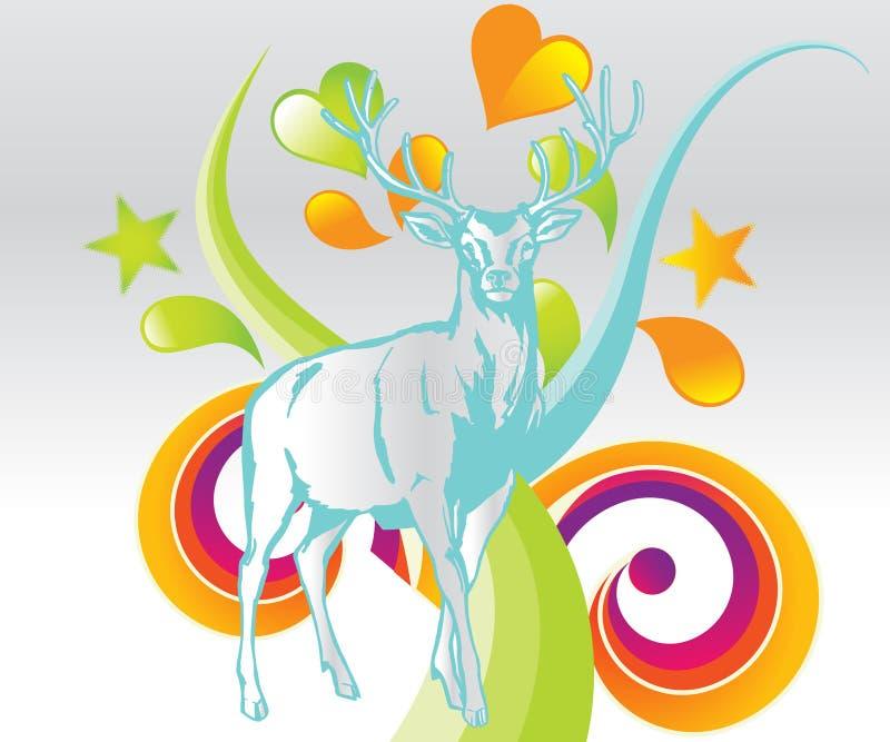 kulöra hjortar för bakgrund vektor illustrationer