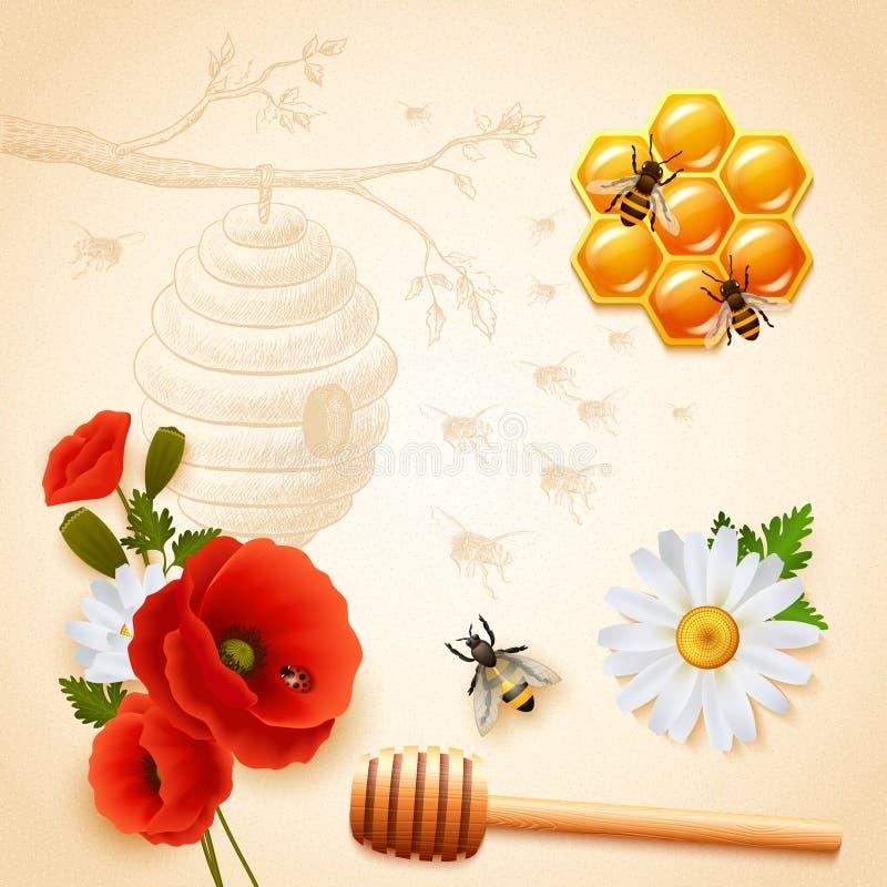 Kulöra Honey Composition stock illustrationer
