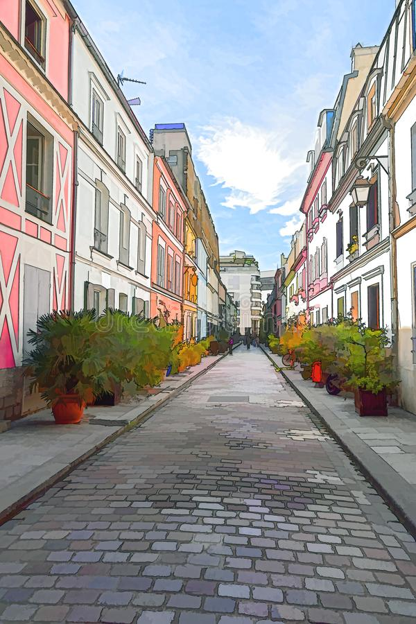 Kulöra hus i Rue Cremieux - Paris arkivbilder