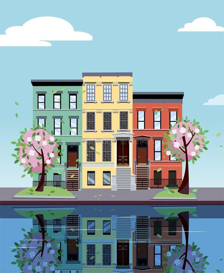 Kulöra hyreshusar på sjön Fasader av byggnader reflekteras i spegelyttersida av vatten Plan tecknad filmvektor royaltyfri illustrationer