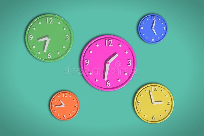 Kulöra klockor 3d royaltyfri illustrationer