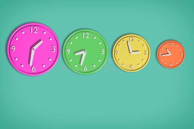 Kulöra klockor 3d stock illustrationer