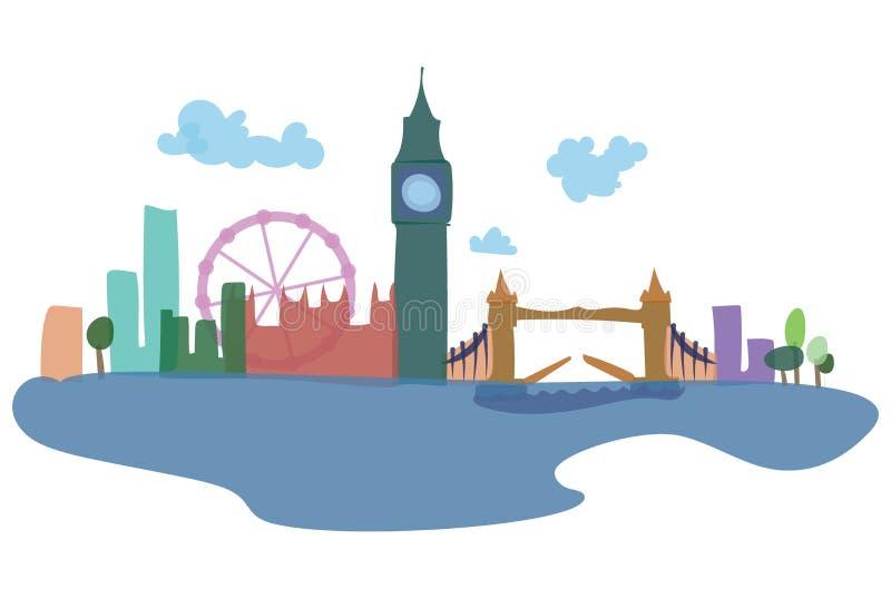 Kulöra konturer av London och dess sikt Vektorillustration av en europeisk stad stock illustrationer