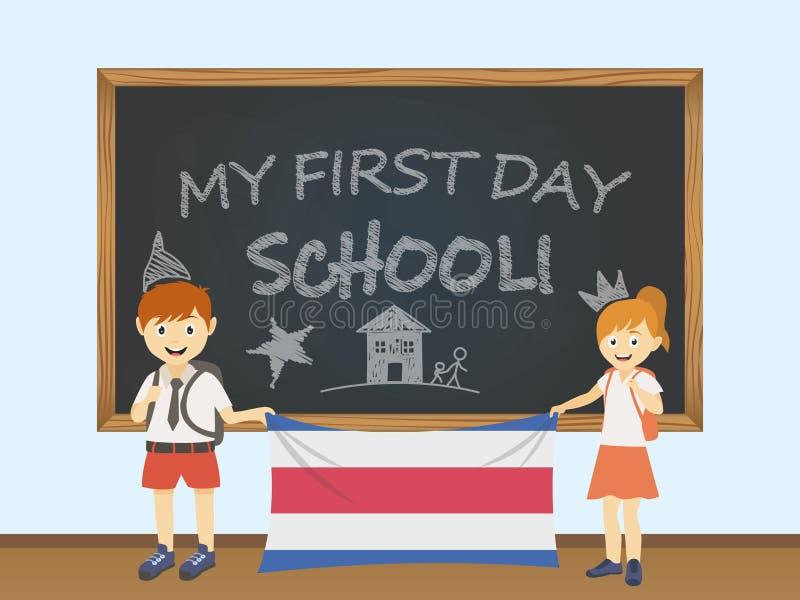 Kulöra le barn, pojke och flicka som rymmer en nationell Costa Rica flagga bak en skolförvaltningillustration Vektortecknad filmi vektor illustrationer