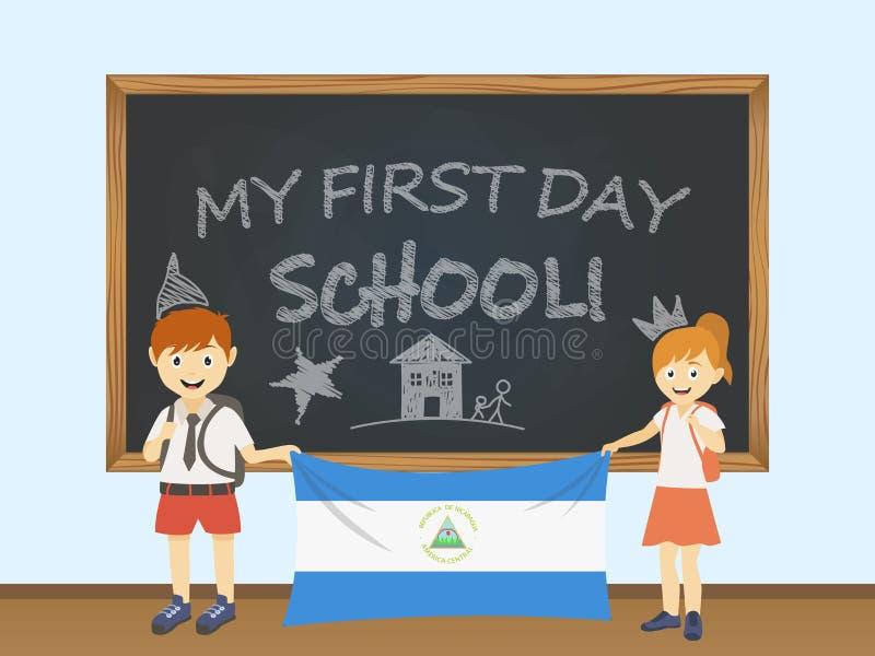 Kulöra le barn, pojke och flicka som rymmer en nationell Nicaragua flagga bak en skolförvaltningillustration Vektortecknad filmil stock illustrationer