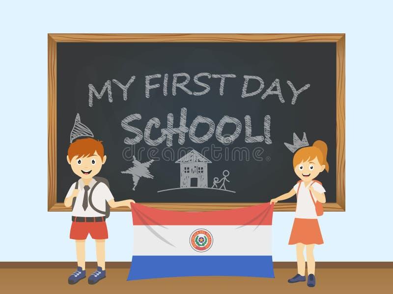 Kulöra le barn, pojke och flicka som rymmer en nationell Paraguay flagga bak en skolförvaltningillustration Vektortecknad filmill vektor illustrationer