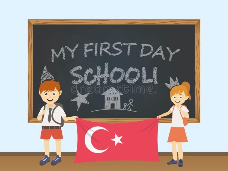 Kulöra le barn, pojke och flicka som rymmer en nationell Turkiet flagga bak en skolförvaltningillustration Vektortecknad filmillu vektor illustrationer