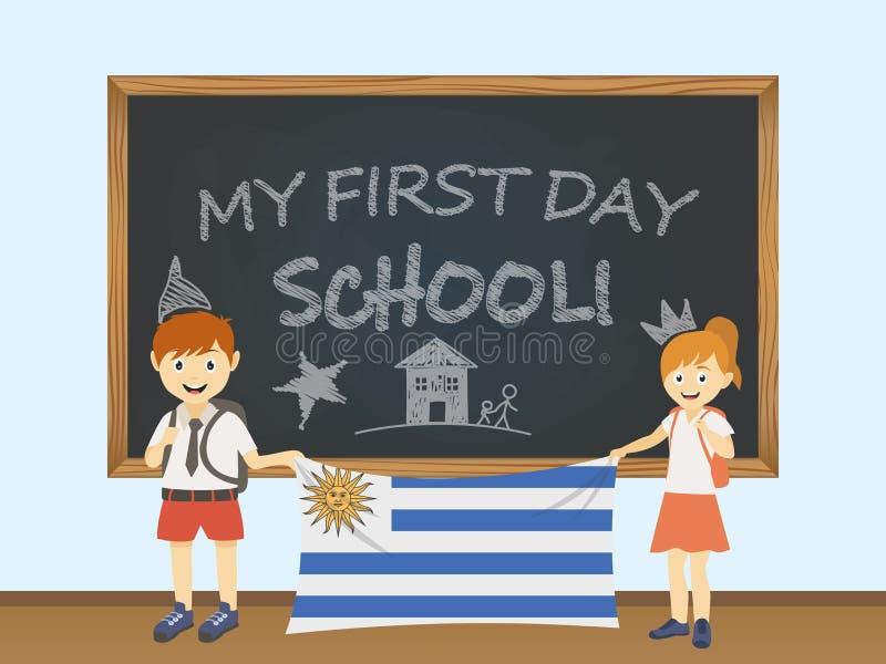Kulöra le barn, pojke och flicka som rymmer en nationell Uruguay flagga bak en skolförvaltningillustration Vektortecknad filmillu stock illustrationer
