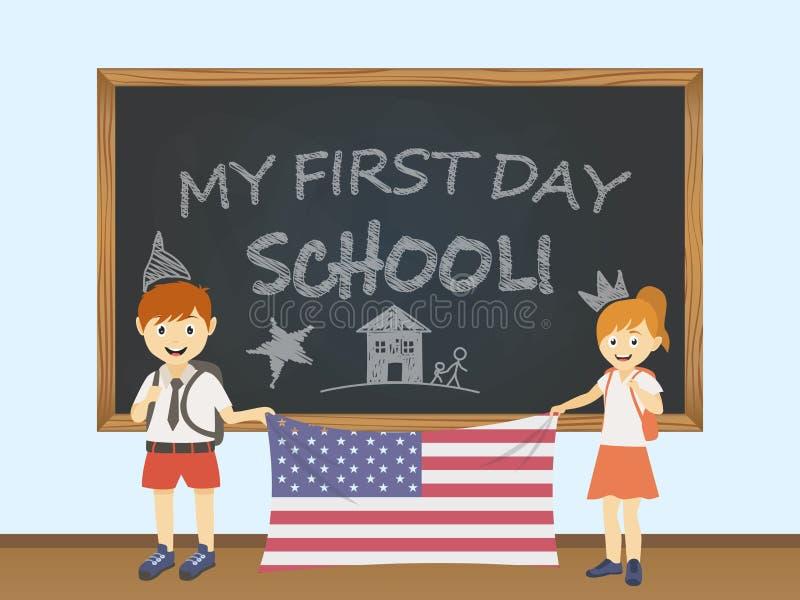 Kulöra le barn, pojke och flicka som rymmer en nationell USA flagga bak en skolförvaltningillustration Vektortecknad filmillustra stock illustrationer