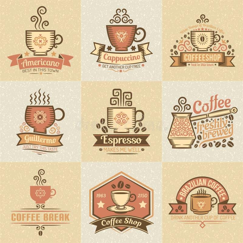 Kulöra logoer för kaffe royaltyfri illustrationer
