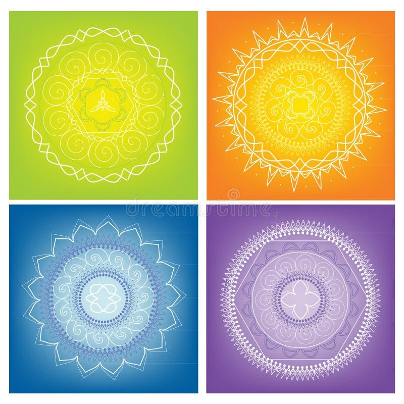Kulöra Mandalas stock illustrationer