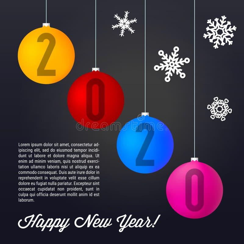 Kulöra Matt Christmas Balls på svart bakgrund Glad jul och lyckligt nytt ?r 2020 ocks? vektor f?r coreldrawillustration vektor illustrationer