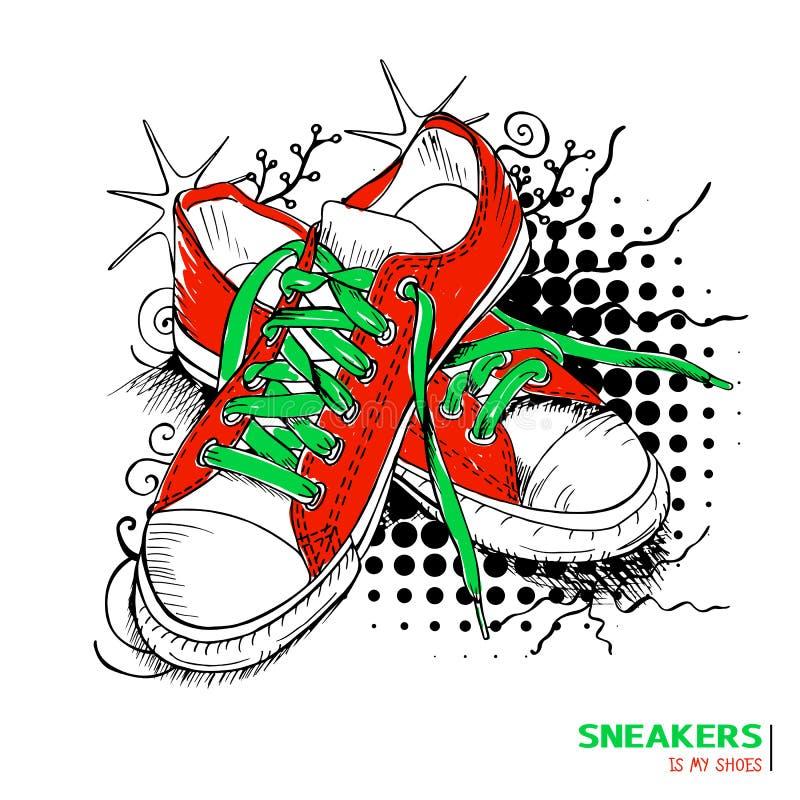 Kulöra modegymnastikskor med titeln 'gymnastikskor är mina skor', royaltyfri illustrationer
