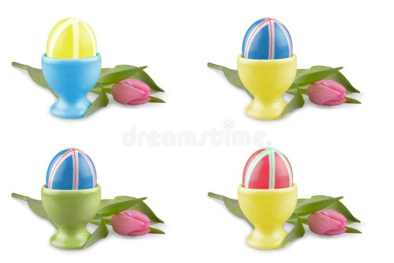 Kulöra påskägg med den rosa tulpan som collage royaltyfri illustrationer