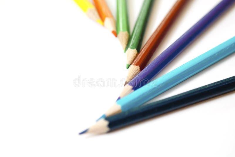 kulöra paper blyertspennor royaltyfria foton