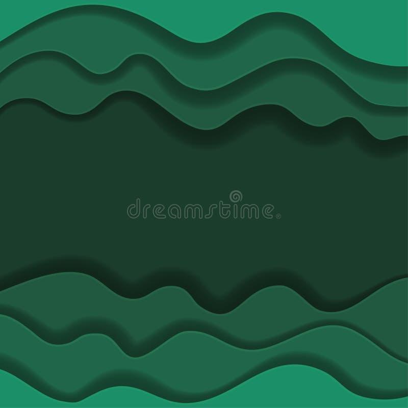 Kulöra pappers- vågor, abstrakta geometriska bakgrundstexturlager av djup i skuggor av havsgräsplan papperssnittstil vektor illustrationer