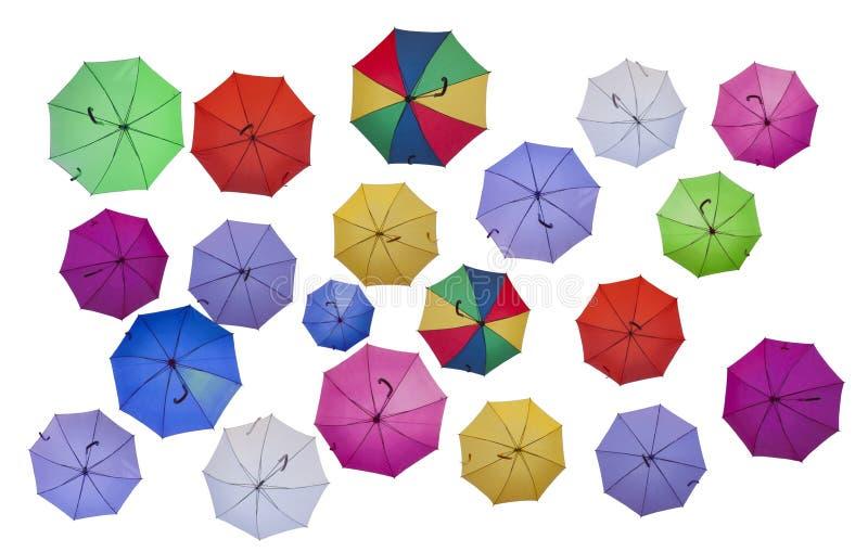 kulöra paraplyer royaltyfri illustrationer