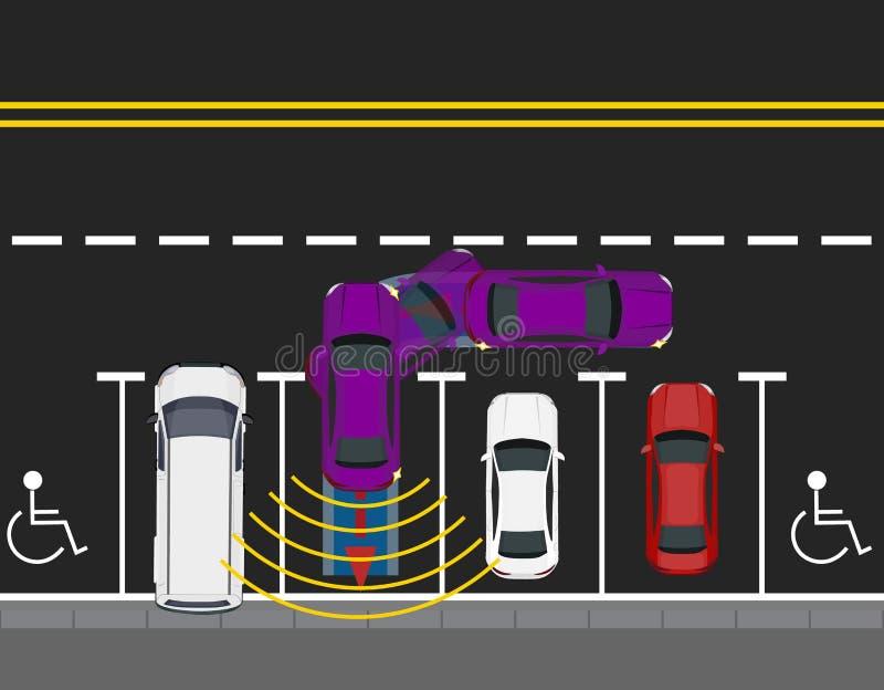 Kulöra parkerade bilar som parkeras av vägen, bästa sikt Intrig av att parkera en bil med autonom rörelse automatiserade royaltyfri illustrationer