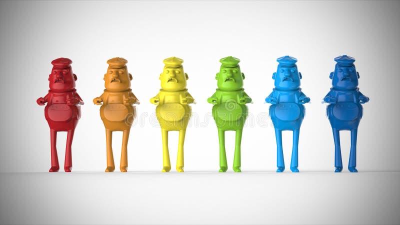 Kulöra plast- arbetardiagram leksaker vektor illustrationer