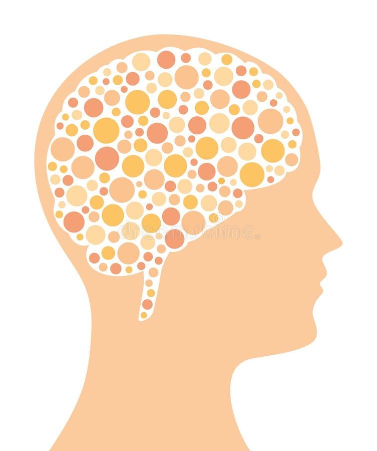 Kulöra prickar i hjärn- och huvudkontur stock illustrationer