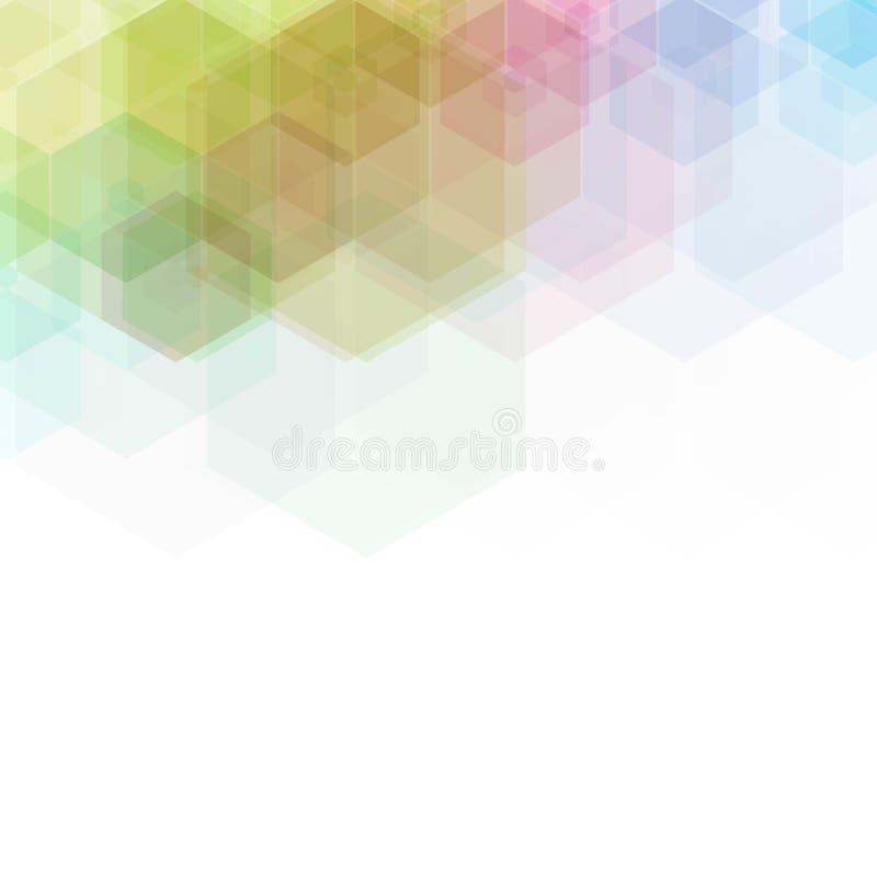 kulöra sexhörningar Polygonal stil geometriska former, mosaik, orientering för annonsering - royaltyfri illustrationer