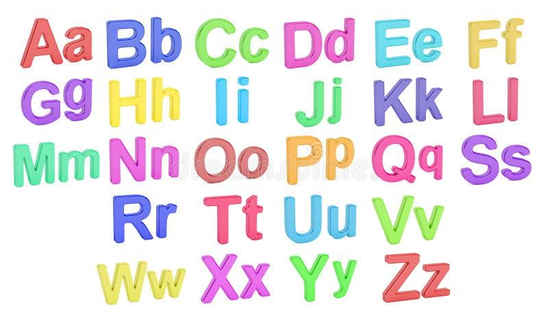 Kulöra stora och små bokstäver för alfabet, tolkning 3D stock illustrationer