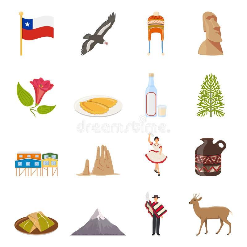 Kulöra symboler för Chile lägenhet stock illustrationer