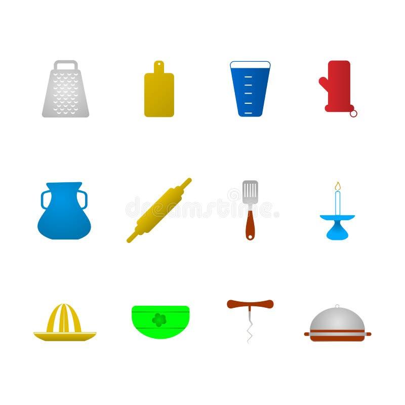Kulöra symboler för kitchenware stock illustrationer